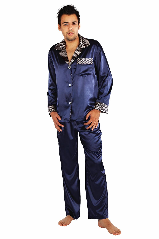 Saténové pánské pyžamo Adam tmavě modré - Pánská pyžama ... 7fda3f159b